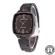 Load image into Gallery viewer, Ebony squared personalized wooden watch