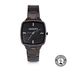 Load image into Gallery viewer, Personalized Wooden Watch, minimalist square case, ebony wood