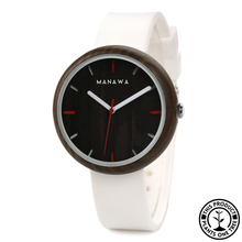 Load image into Gallery viewer, Personalized Wooden Watch with white strap