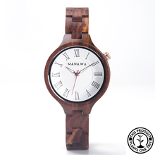 Load image into Gallery viewer, Personalized Wooden Watch made from natural rosewood, minimalist design, roman numbers