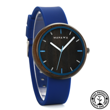 Load image into Gallery viewer, Personalized Wooden Watch with blue strap
