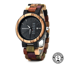 Load image into Gallery viewer, Personalized Wooden Watch made from multiple woods