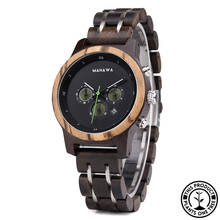 Load image into Gallery viewer, Personalized Wooden Watch made from ebony and zebra wood, with chronograph