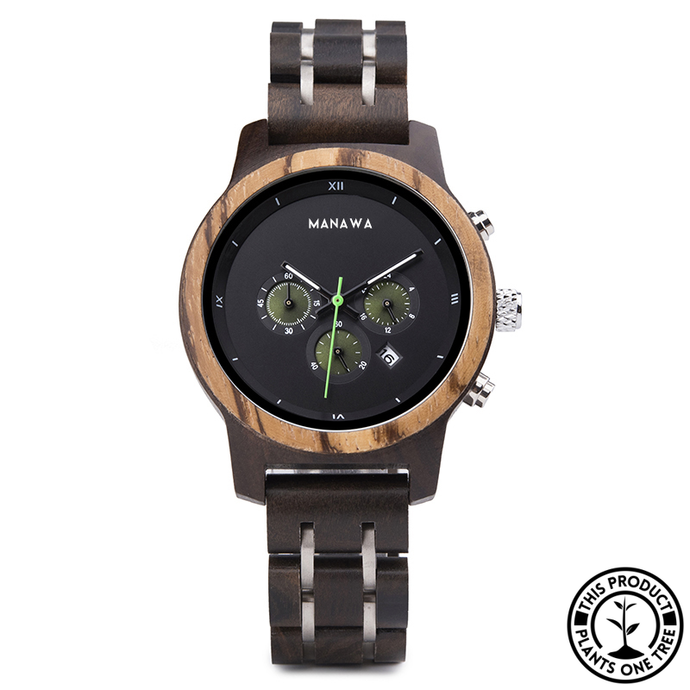 Personalized Wooden Watch made from ebony and zebra wood, with chronograph