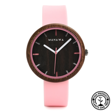 Load image into Gallery viewer, Personalized Wooden Watch with rose strap