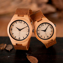 Load image into Gallery viewer, Personalized Wooden Watch made from natural bamboo, different sizes