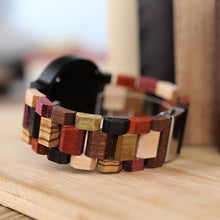 Load image into Gallery viewer, Personalized Wooden Watch made from multiple woods, including zebrawood, ebony and rosewood