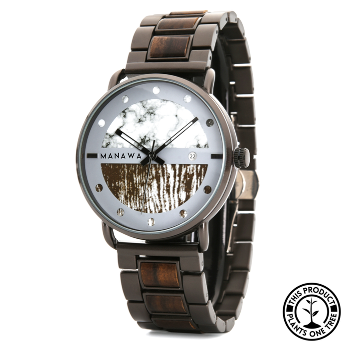 Personalized Wooden and Steel Watch, ebony wood, marble