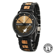 Load image into Gallery viewer, Personalized Wooden and Steel Watch, ebony wood, marble