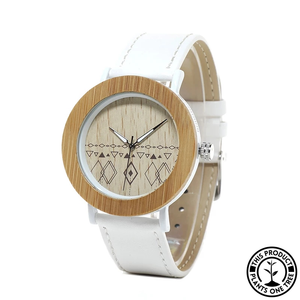 Personalized Wood and Steel Watch with white leather strap