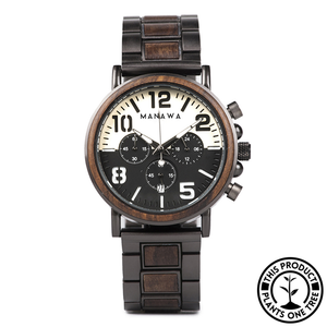 Personalized Wooden and Steel Watch made from Ebony, with chronograph