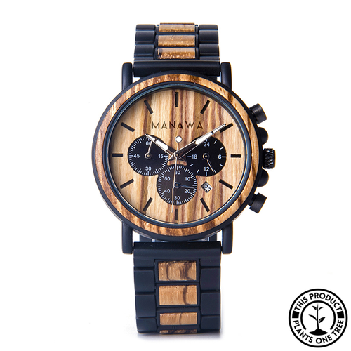 Personalized Wooden and stainless Steel Watch, zebra wood, chronograph
