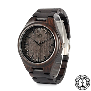 Personalized Wooden Watch made from natural ebony wood