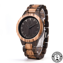 Load image into Gallery viewer, Personalized Wooden Watch made from zebra wood and ebony