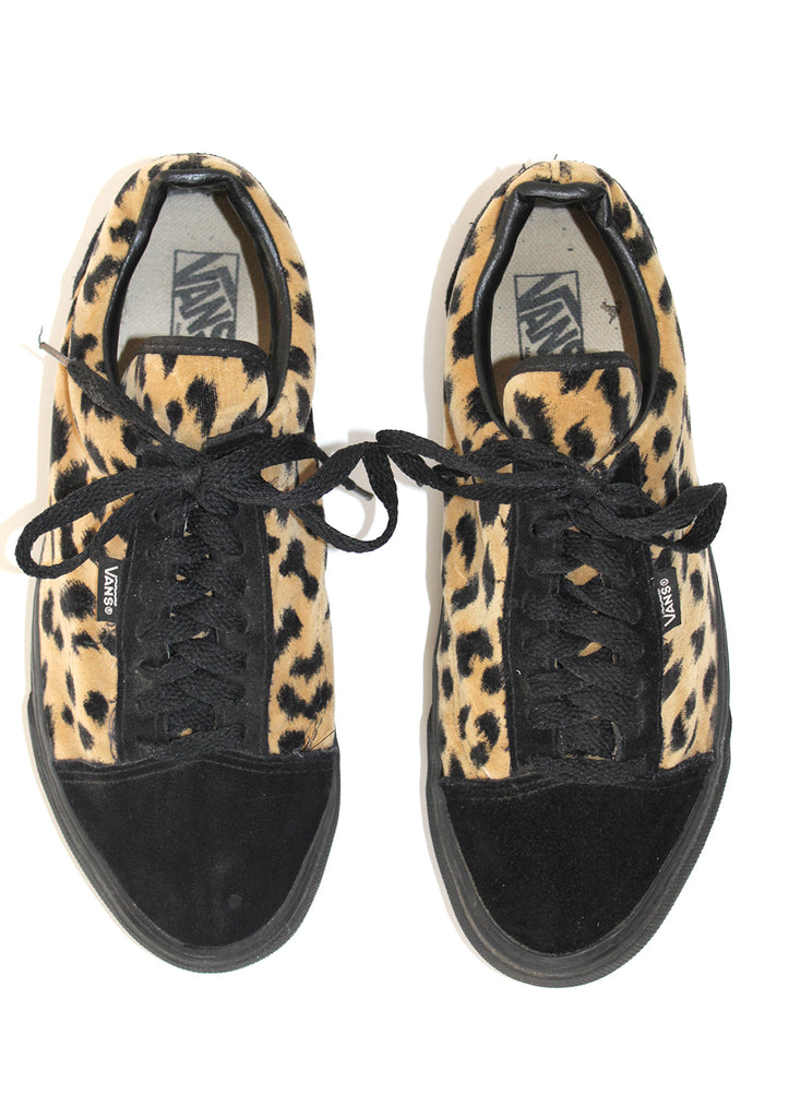 Vintage Leopard Velvet and Suede Two Tone Vans Made in USA