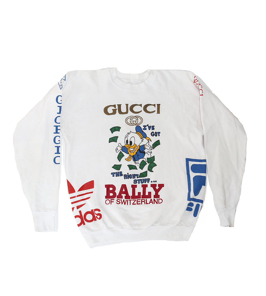 7c7afd7f018 Vintage Ultimate Bootleg Logo Donald Duck Gucci Sweatshirt – Afterlife  Boutique