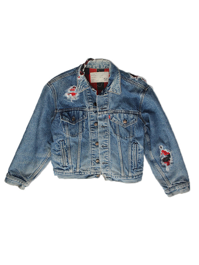 ALC-009 Thrashed Plaid Lined Levi's jacket ///SOLD///