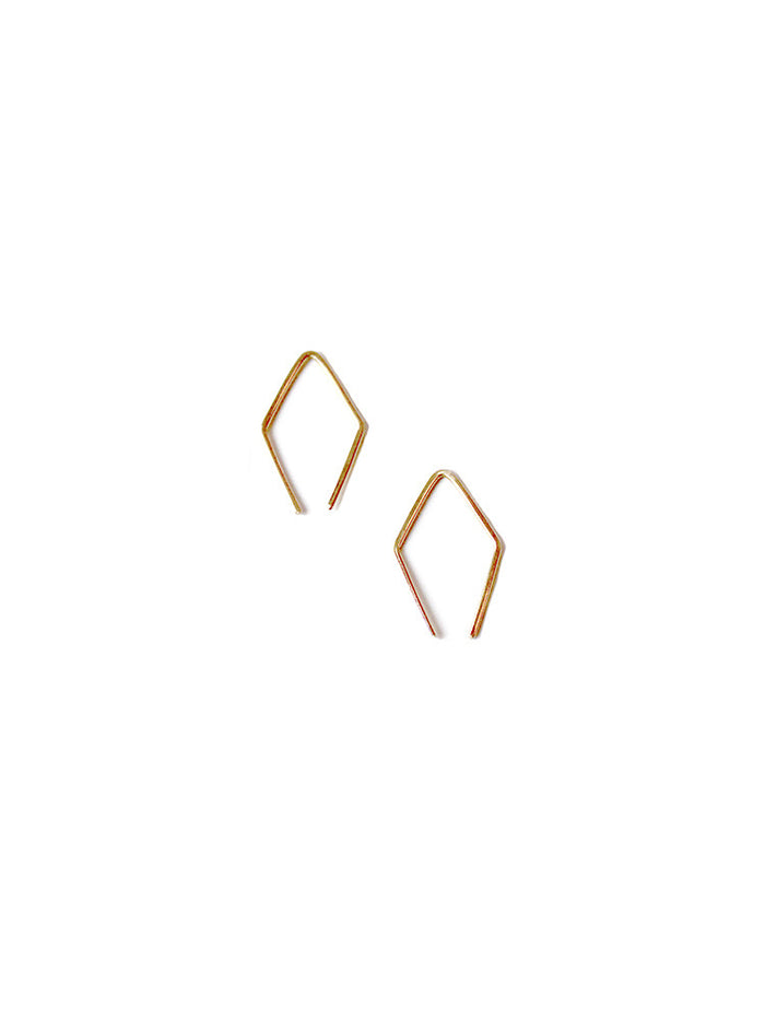 14k Gold Diamond Shape Hoop Earrings