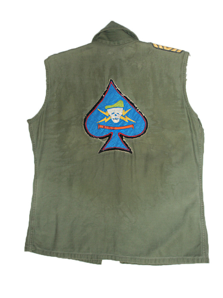 Vintage Skeleton Patched Army Shirt Vest