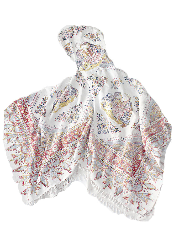 ALC-010 Kalamkari Hooded Offerings Poncho