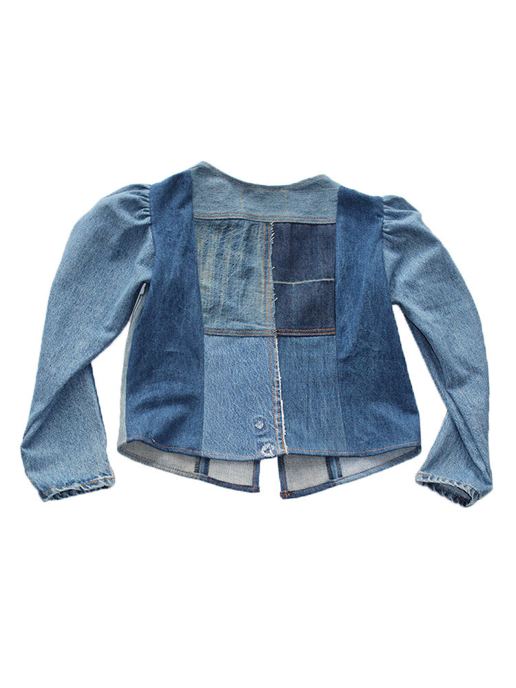 ALC-014 Denim Princess Sleeve Patchwork Jacket
