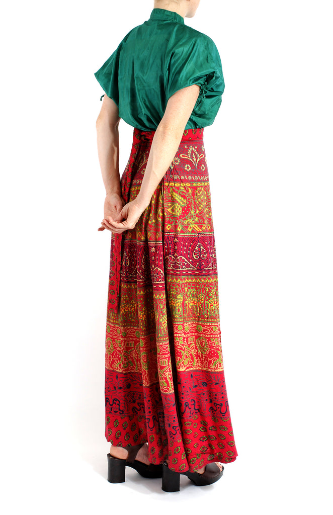 VINTAGE 70'S DEADSTOCK INDIA COTTON BRIGHT WRAP SKIRT
