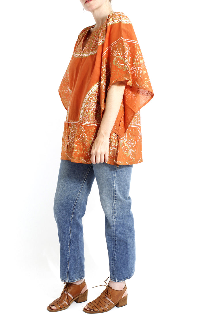 VINTAGE 70'S DEADSTOCK COTTON RUST WINGED SLEEVE BLOUSE