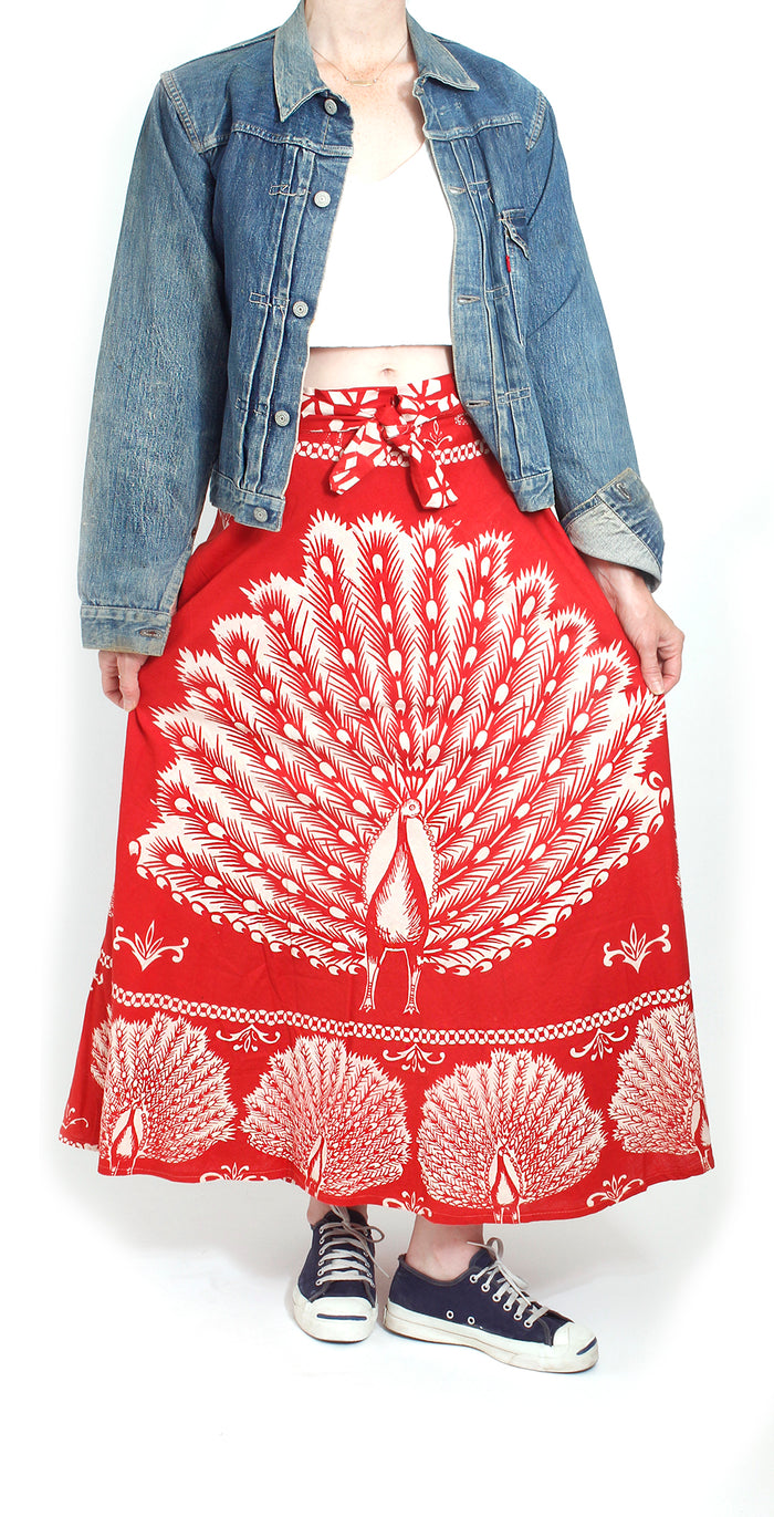 Vintage 70's Deadstock Peacock Wrap Skirt