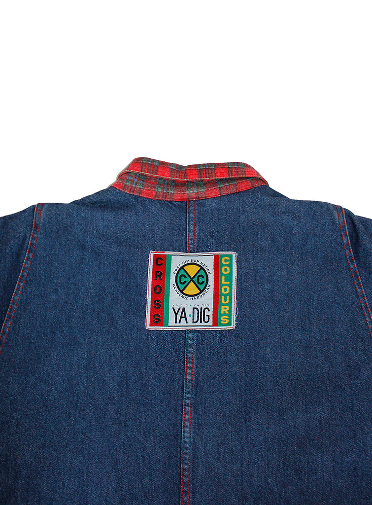 Vintage 90's Cross Colours Club K-9 Denim Barn Jacket