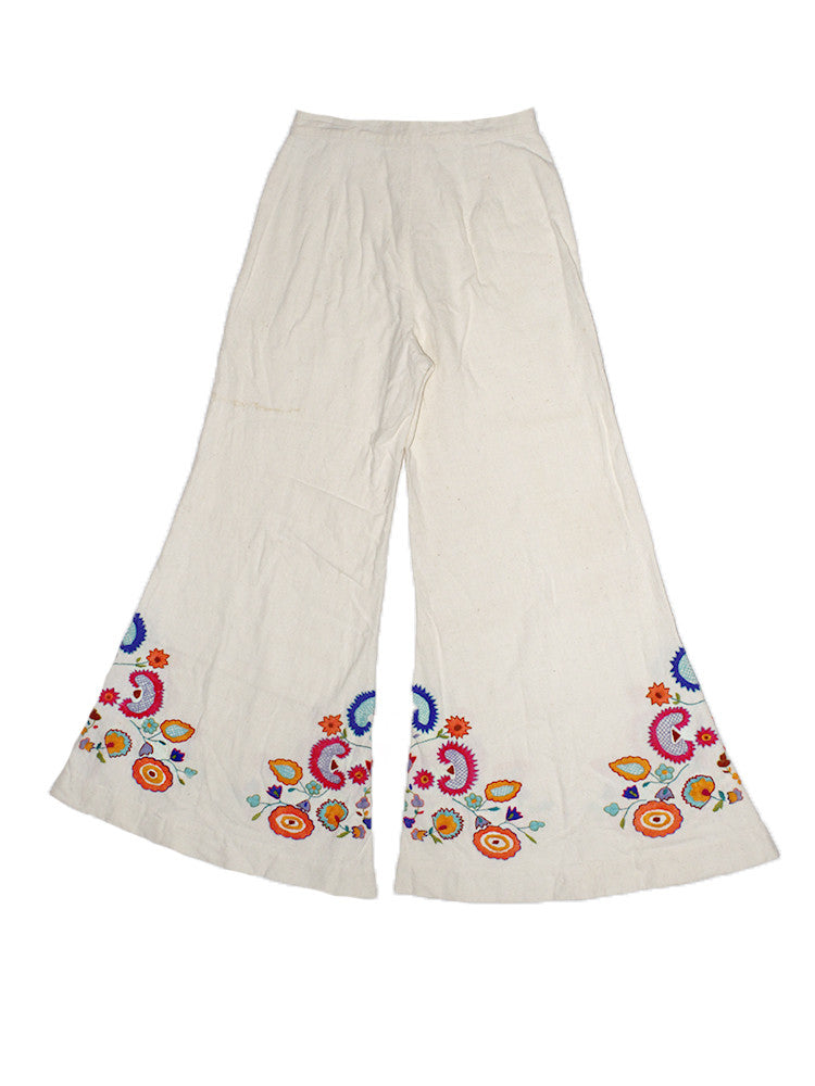 Vintage 70's Hand Embroidered Bell Bottoms
