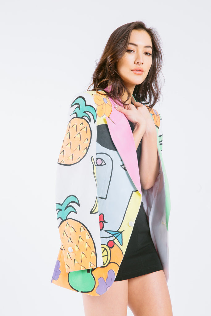 Vintage Hand Painted Tropical Blazer