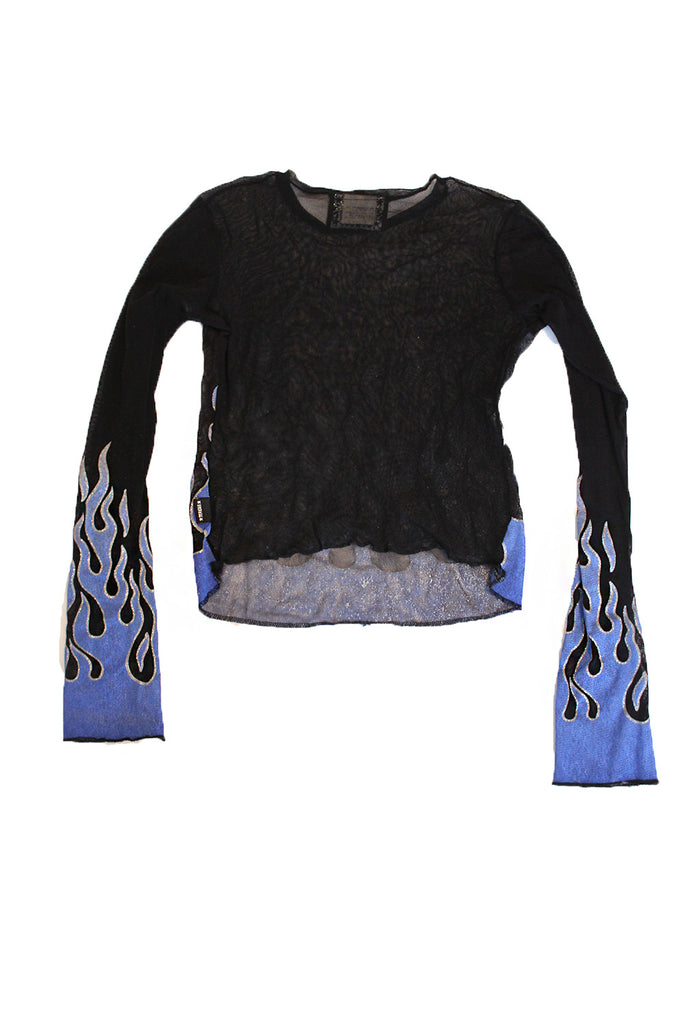 Vintage Blue Flame Sheer Mesh Top