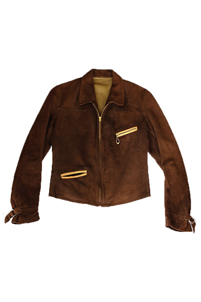 Vintage 30's 40's Deerskin Californian Two Tone Ball & Chain Jacket