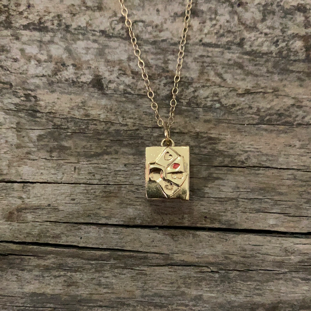 Vintage 1950's Mini Deck Of Cards 14k Gold Necklace