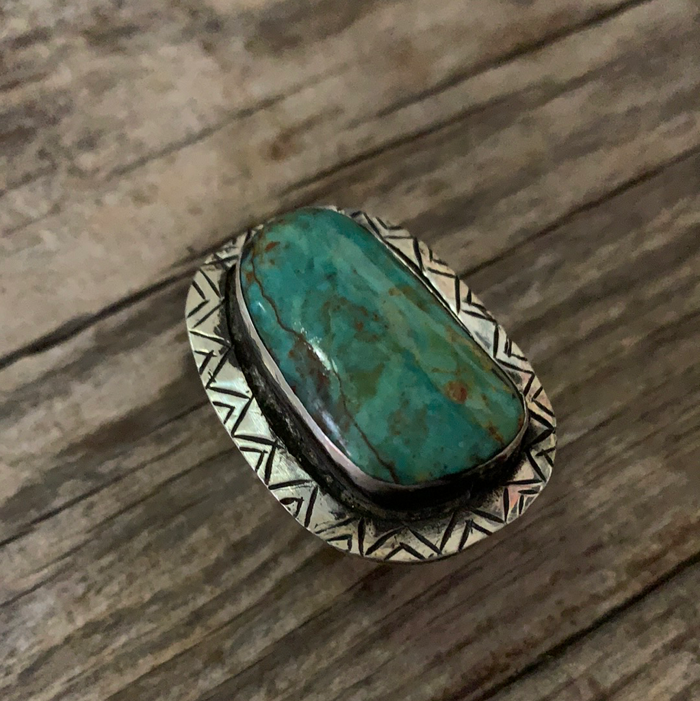 Vintage Native American Silver Turquoise Ring Size 6