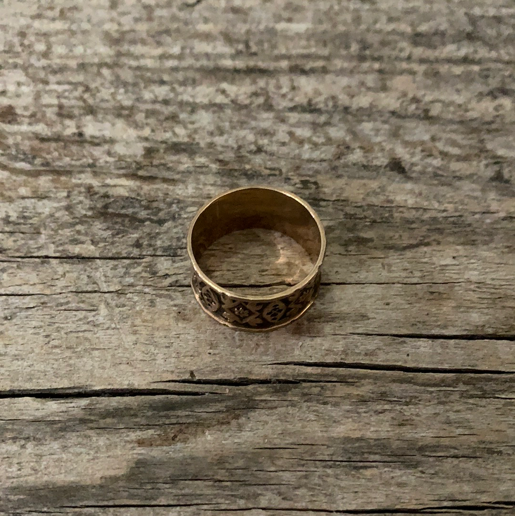 Victorian Cigar Band Gold Ring Size 8.25