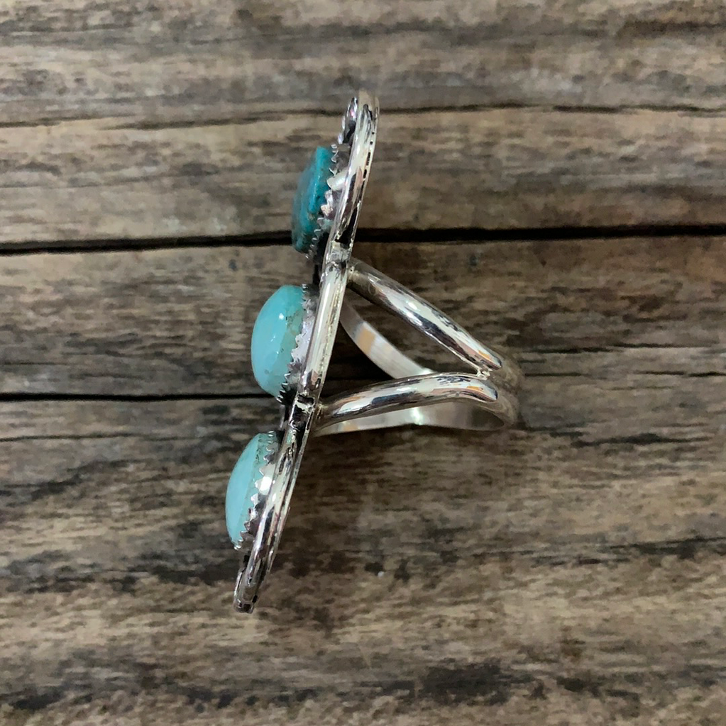 Native American Turquoise Silver Ring Size 6.5