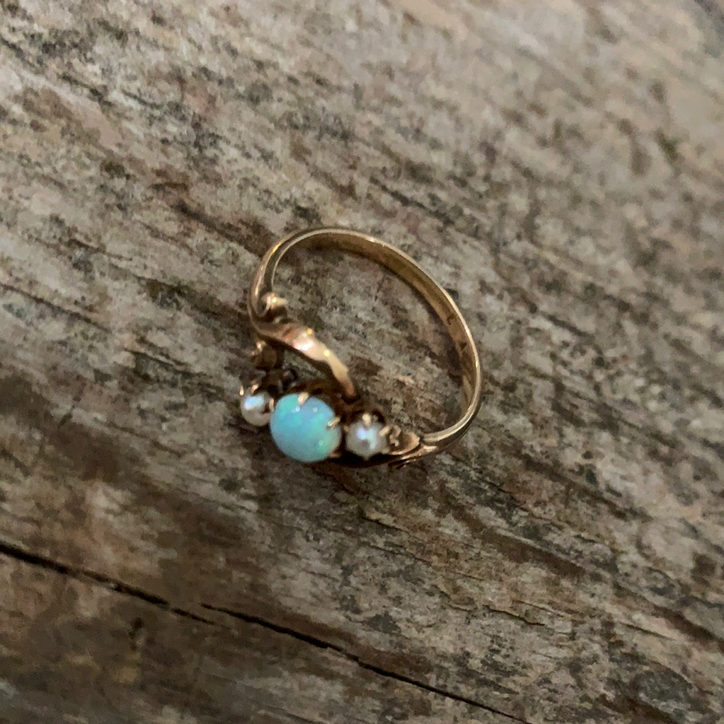 Victorian Opal & Seed Pearl Gold Ring Size 5.75