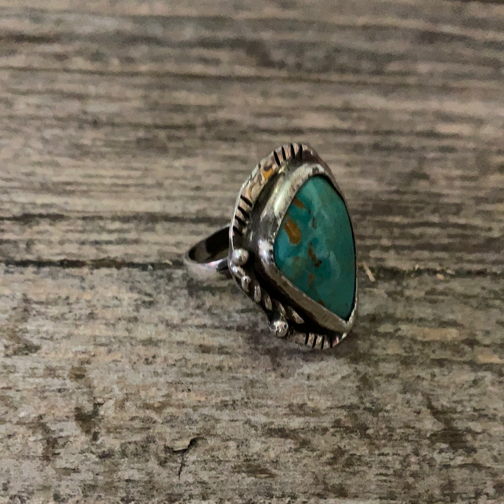 Vintage Native American Silver Turquoise Ring Size 5.5
