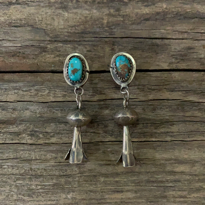 Vintage Native American Squash Blossom Silver Earrings ///SOLD///