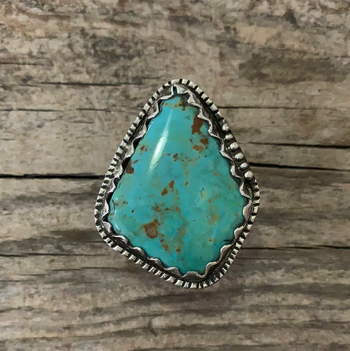 Vintage Native American Silver Turquoise Ring Size 8