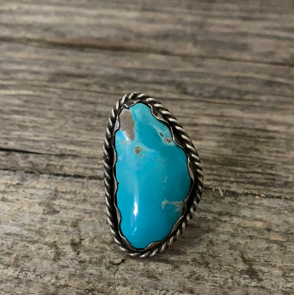 Vintage Native American Silver Blue Turquoise Ring Size 8.75