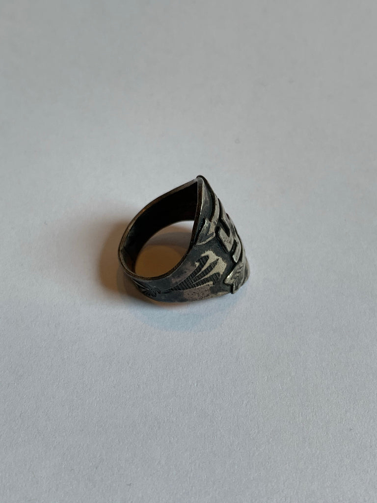 Vintage 30's 40's Navajo Whirling Log Silver Ring Size 7