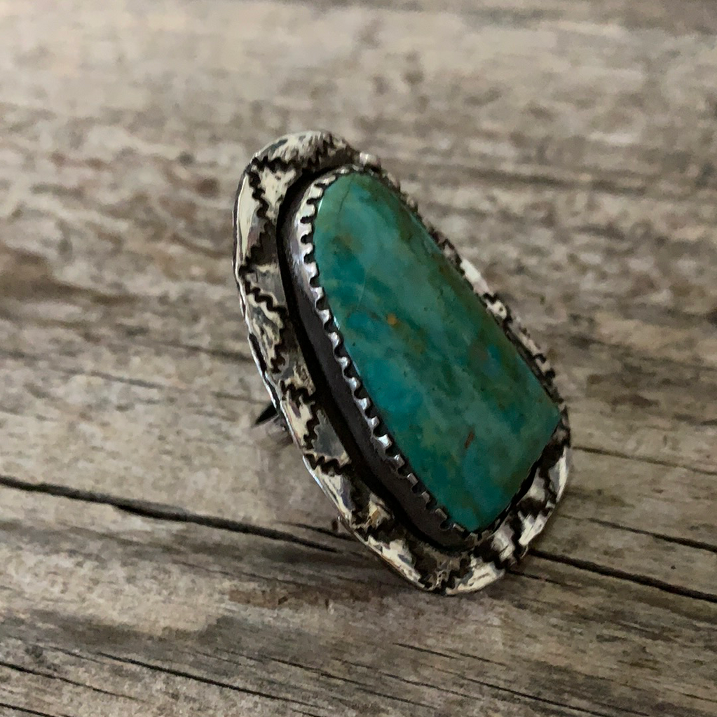 Vintage Native American Silver Turquoise Ring Size 7.75