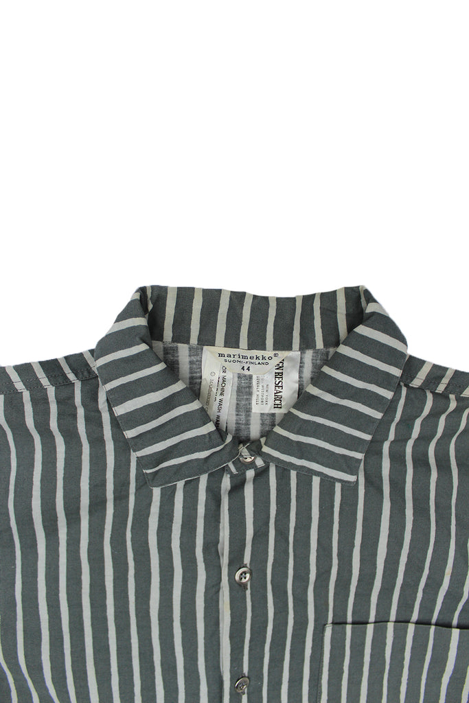 Vintage 60's Marimekko 100% Cotton Dress Shirt Light Green Stripe