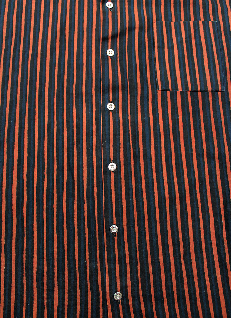 Vintage 60's Marimekko 100% Cotton Dress Shirt Brown/Indigo Stripe