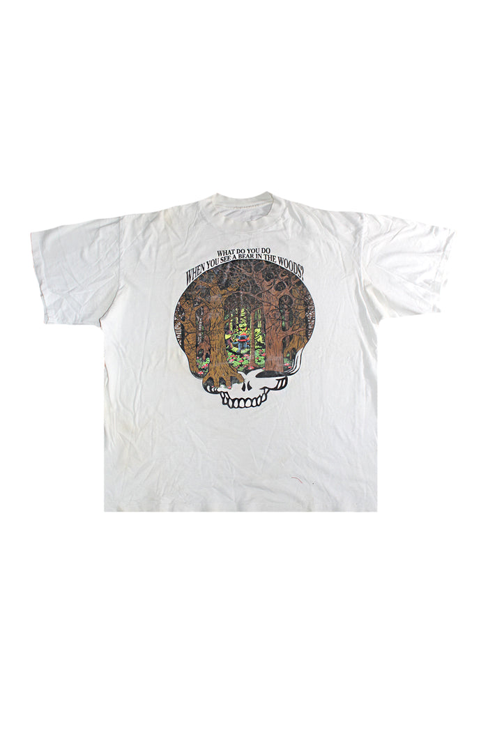 what do you do when you see a bear in the woods play dead grateful dead vintage tshirt
