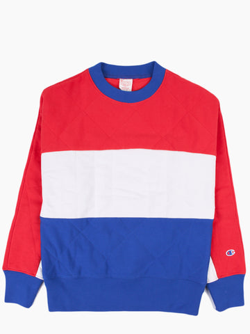 Tri-Colour Quilted Crewneck Sweatshirt