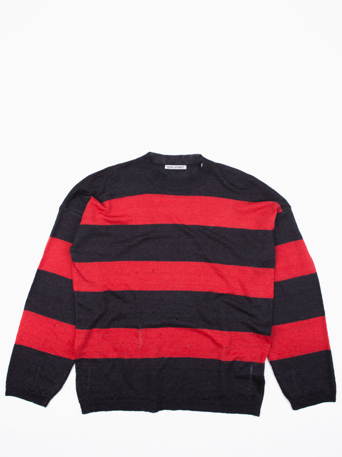 Popover Drop Knit Red/Brown Stripe Moth