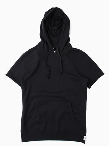 Lightweight Terry SS Raw Edge Pullover Hoodie Black